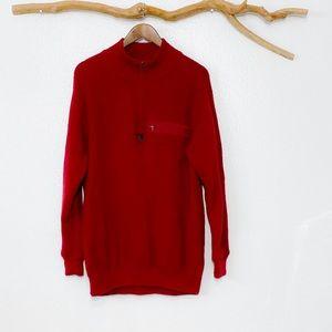 Vtg 90s Patagonia Red Wool Pullover Turtleneck